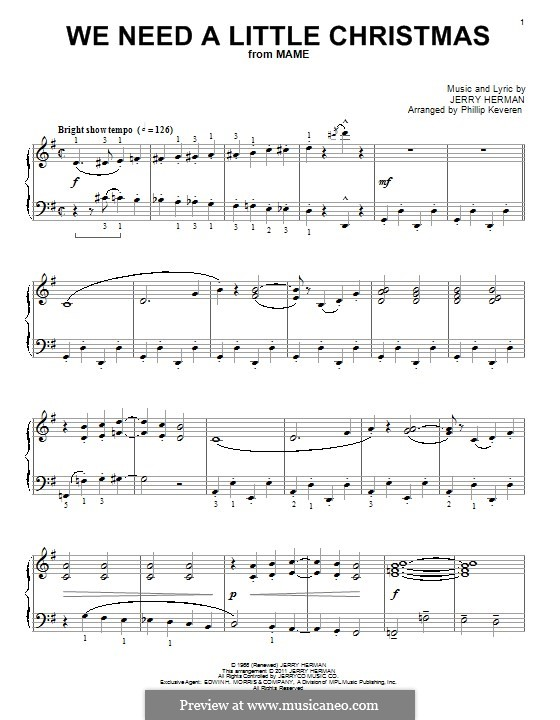 We Need a Little Christmas: For piano by Jerry Herman