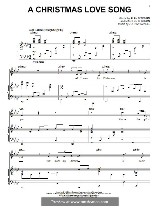 A Christmas Love Song: For voice and piano by Johnny Mandel