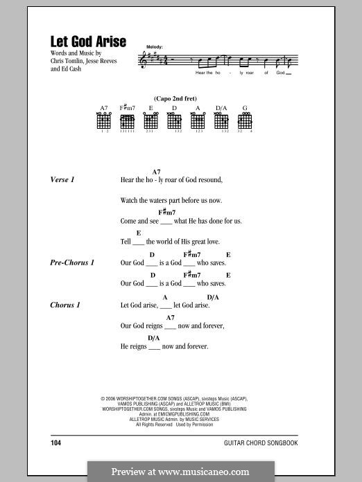 Let God Arise: Lyrics and chords by Chris Tomlin, Ed Cash, Jesse Reeves