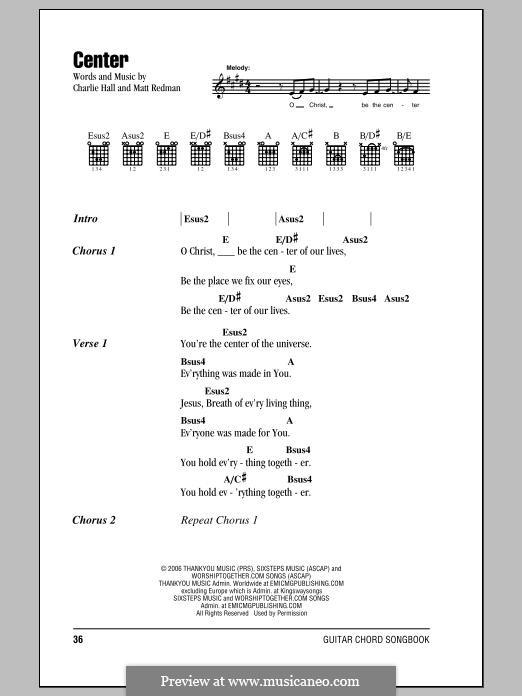 Center: Lyrics and chords by Matt Redman