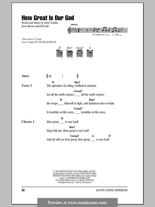 How Great Is Our God: Lyrics and chords by Chris Tomlin, Ed Cash, Jesse Reeves