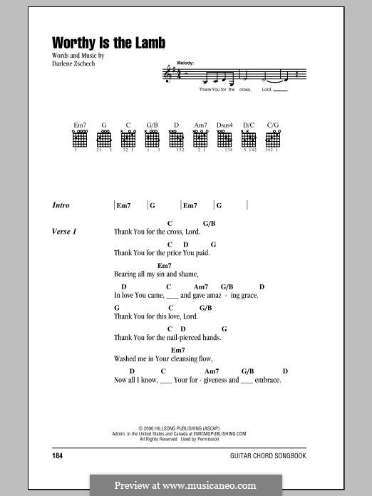 Worthy is the Lamb: Lyrics and chords by Darlene Zschech