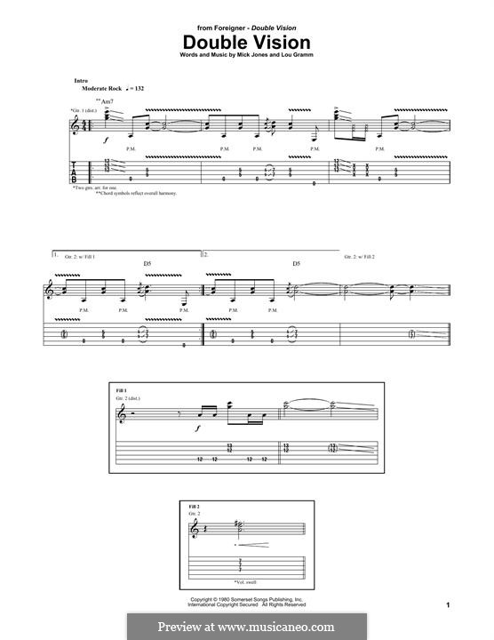 Double Vision (Foreigner): For guitar with tab by Lou Gramm, Mick Jones
