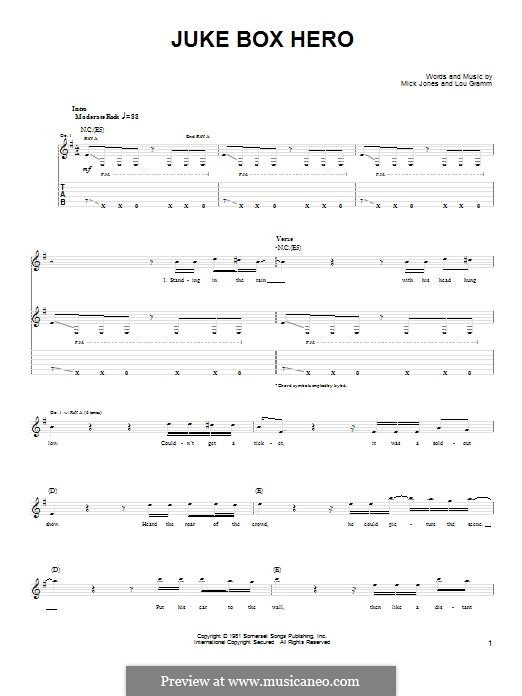 Juke Box Hero (Foreigner): For guitar with tab by Lou Gramm, Mick Jones