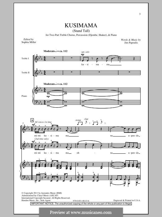 Kusimama (Stand Tall): For mixed choir by Jim Papoulis