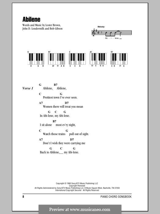 Abilene (George Hamilton IV): For voice and piano by John D. Loudermilk, Bob Gibson, Lester Brown