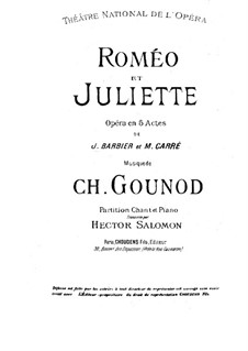 Romeo et Juliette (Romeo and Juliet): Piano-vocal score by Charles Gounod