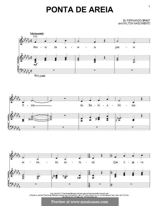 Ponta de Areia (Esperanza Spalding): For voice and piano by Milton Nascimento, Fernando Brant