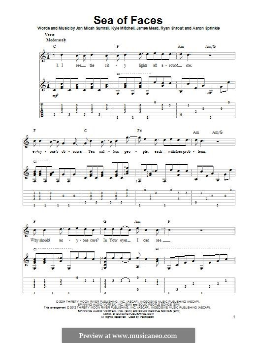 Sea of Faces (Kutless): For guitar with tab by Jon Micah Sumrall, Aaron Sprinkle, Kyle Mitchell, James Mead, Ryan Shrout