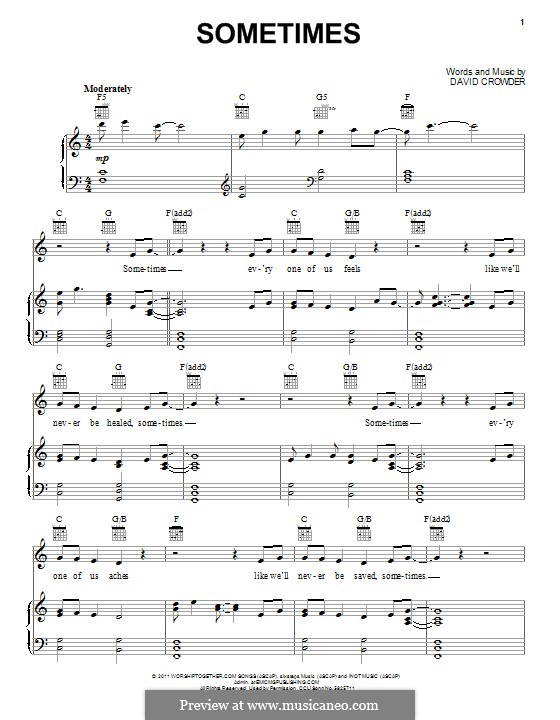 Sometimes (David Crowder Band): For voice and piano (or guitar) by David Crowder