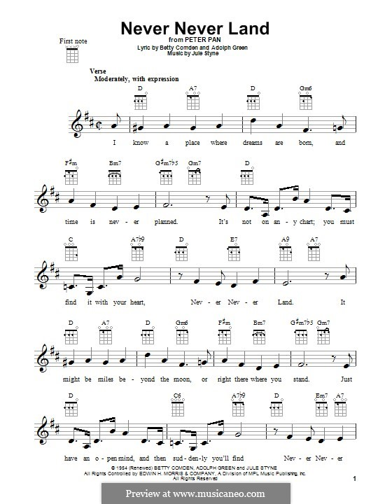 Never Never Land: For ukulele by Jule Styne