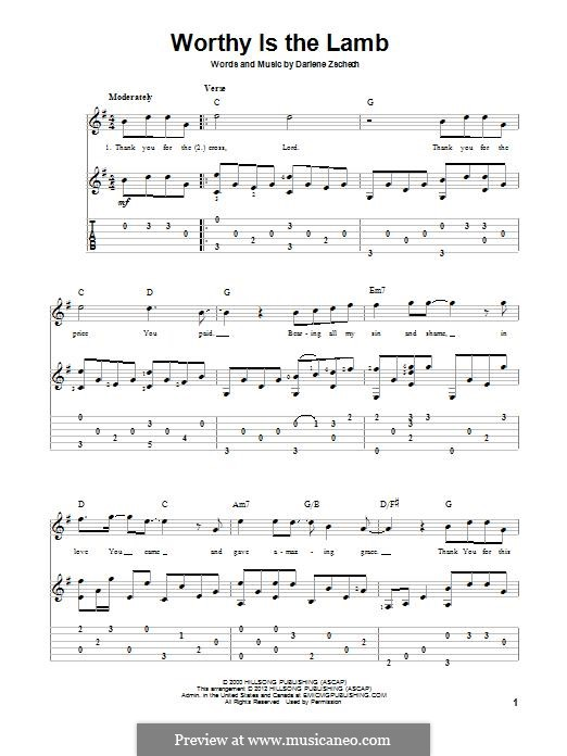 Worthy is the Lamb: For guitar with tab by Darlene Zschech