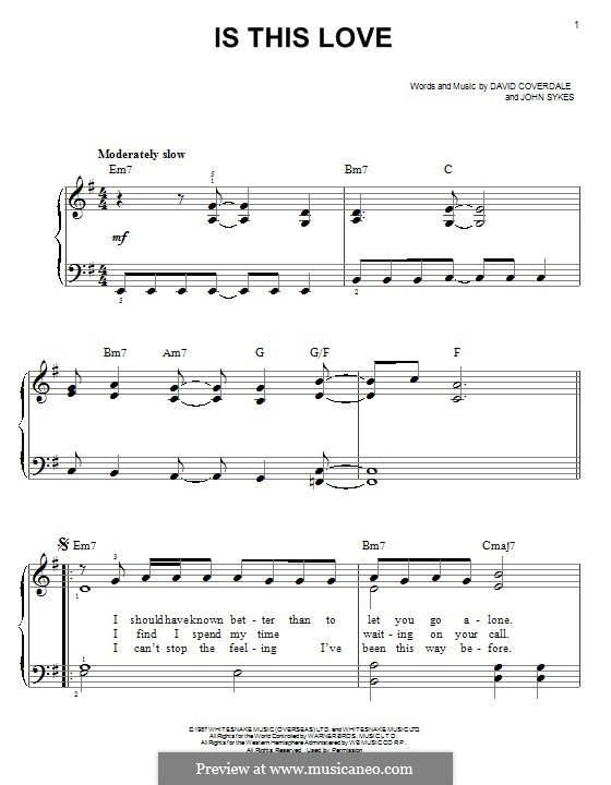 Is This Love (Whitesnake): For piano by David Coverdale, John Sykes