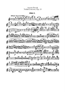 Concerto for Violin and Orchestra in A Minor, B.108 Op.53: Flutes parts by Antonín Dvořák