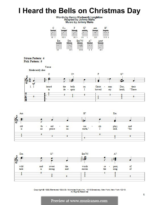 I Heard the Bells on Christmas Day: For guitar with tab by Johnny Marks
