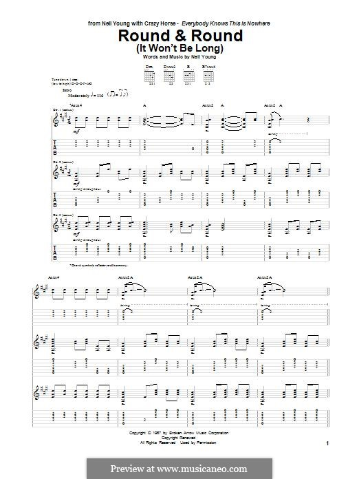 Round & Round (It Won't Be Long): For guitar with tab by Neil Young