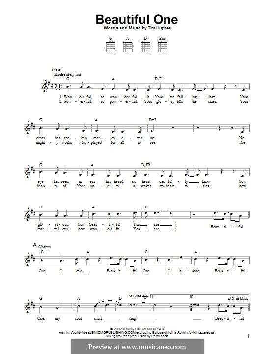 Beautiful One: For guitar with tab by Tim Hughes