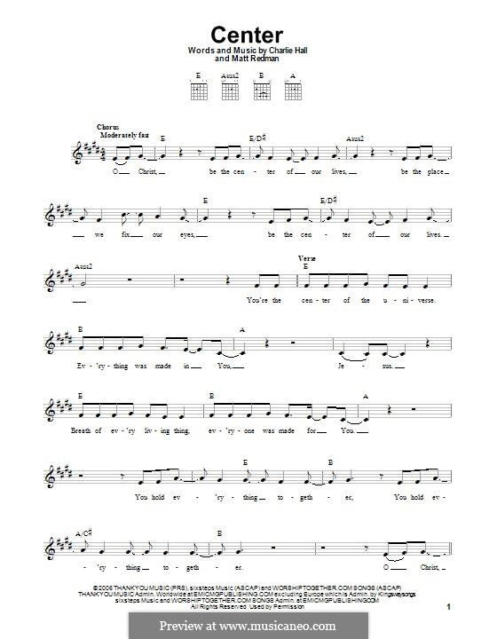 Center: For guitar with tab by Matt Redman