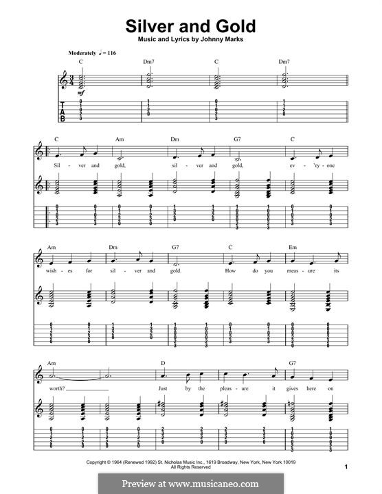 Silver and Gold: For guitar with tab by Johnny Marks