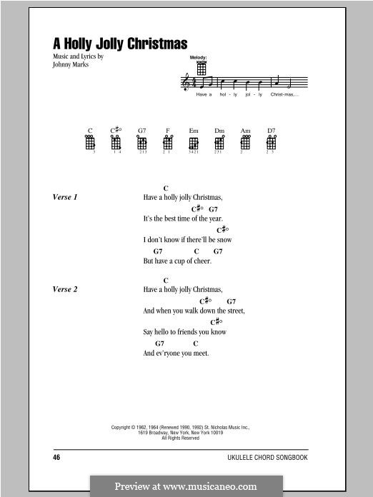 A Holly Jolly Christmas: Lyrics and chords by Johnny Marks