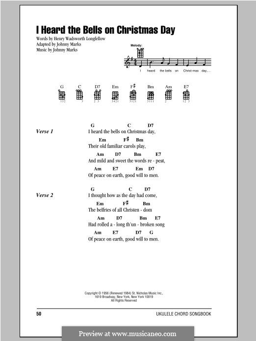 I Heard the Bells on Christmas Day: Lyrics and chords by Johnny Marks