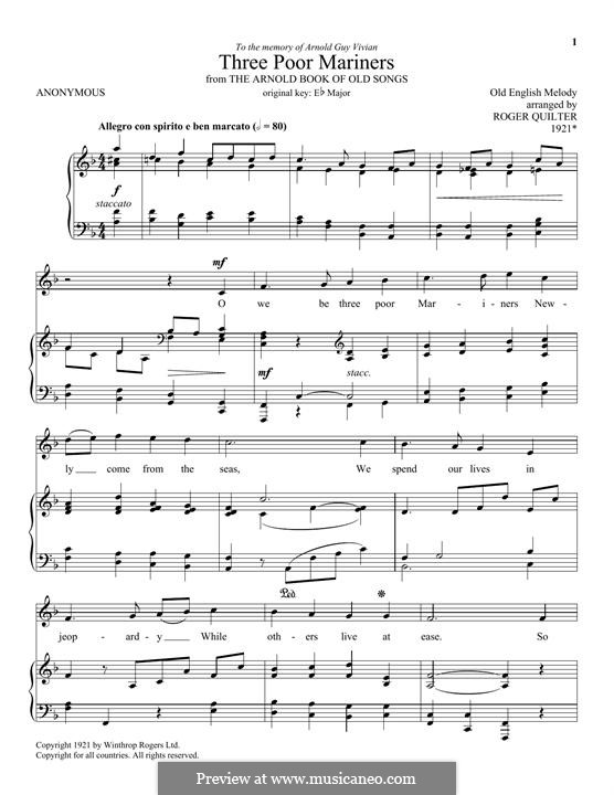 Three Poor Mariners: For voice and piano by folklore
