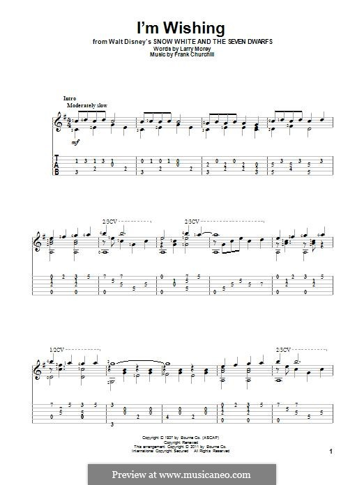I'm Wishing: For guitar with tab by Frank Churchill