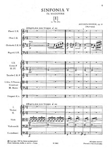 Symphony No.5 in F Major, B.54 Op.76: Movement I by Antonín Dvořák
