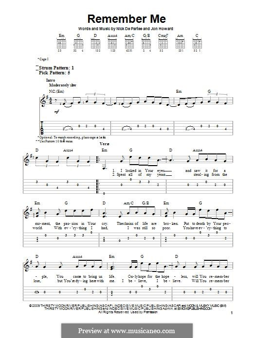 Remember Me (Kutless): For guitar with tab by Jon Howard, Nick de Partee