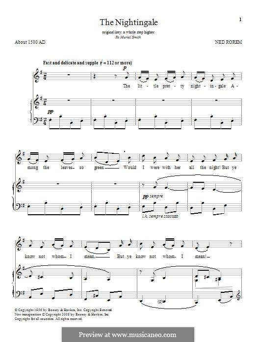 The Nightingale: For voice and piano by Ned Rorem