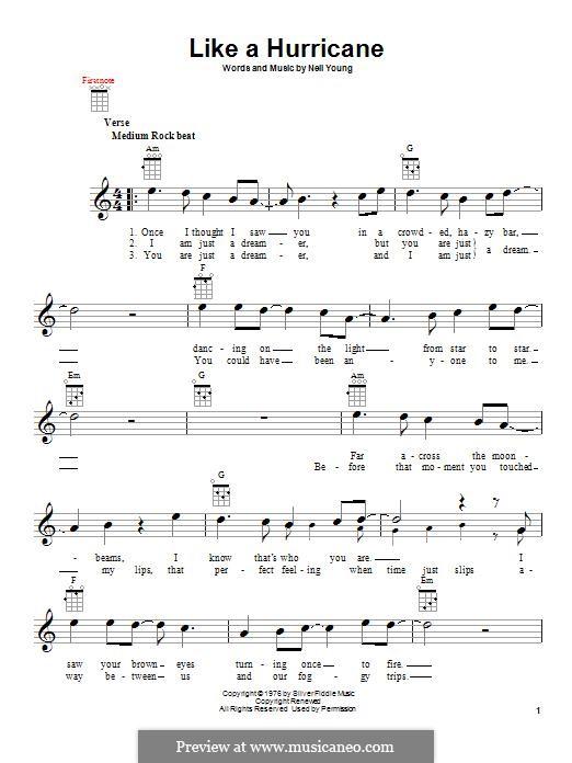 Like a Hurricane: For ukulele by Neil Young
