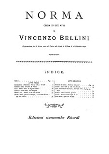 Complete Opera: Piano score by Vincenzo Bellini