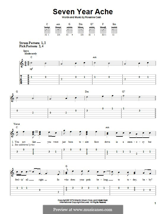 Seven Year Ache: For guitar with tab by Rosanne Cash