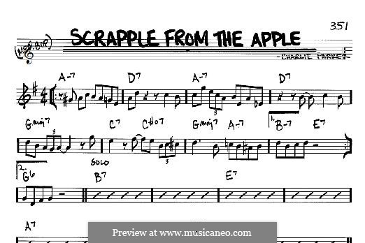 Scrapple From The Apple By C Parker Sheet Music On Musicaneo