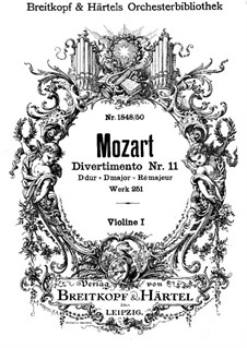 Divertissement No.11 in D Major, K.251: Violins I part by Wolfgang Amadeus Mozart