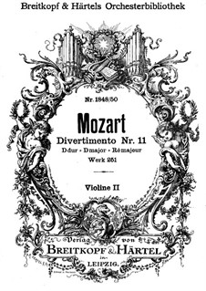 Divertissement No.11 in D Major, K.251: Violins II part by Wolfgang Amadeus Mozart