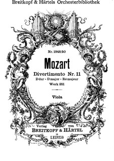 Divertissement No.11 in D Major, K.251: Violas part by Wolfgang Amadeus Mozart