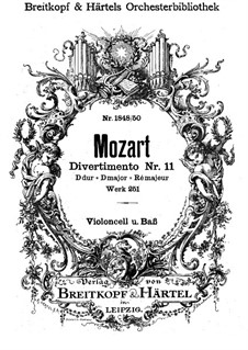 Divertissement No.11 in D Major, K.251: Cello and double bass part by Wolfgang Amadeus Mozart