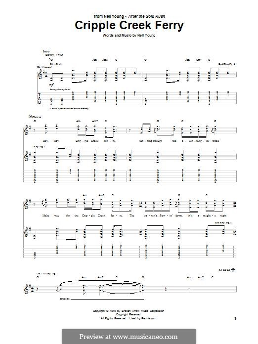 Cripple Creek Ferry: For guitar with tab by Neil Young