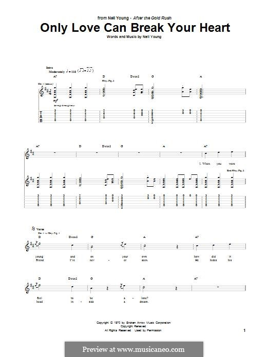 Only Love Can Break Your Heart: For guitar with tab by Neil Young