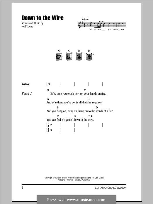 Down to the Wire: Lyrics and chords by Neil Young