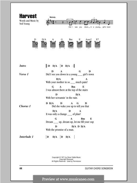 Harvest By N Young Sheet Music On Musicaneo