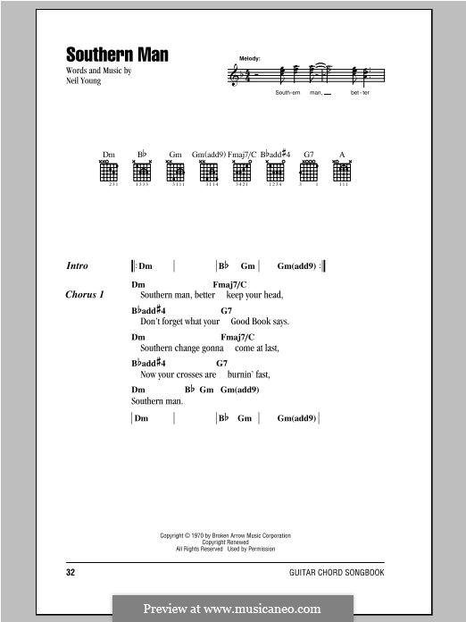Southern Man: Lyrics and chords by Neil Young