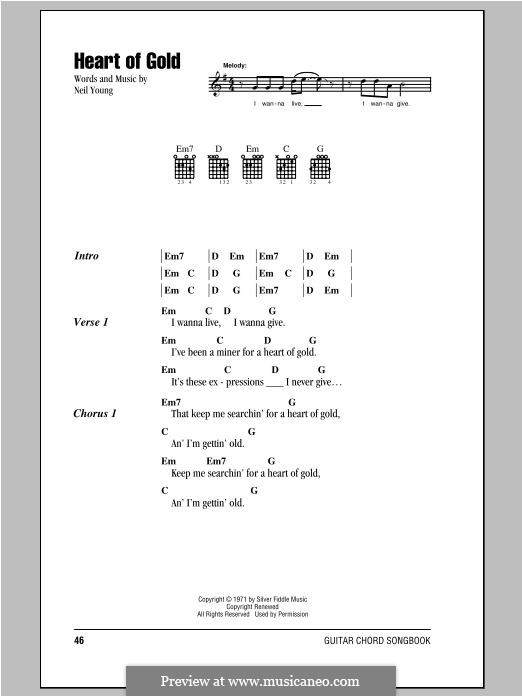 Heart of Gold: Lyrics and chords by Neil Young