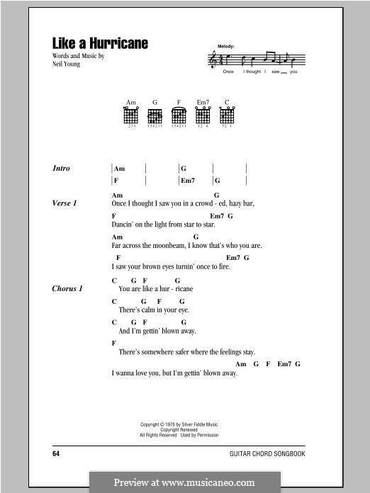 Like a Hurricane: Lyrics and chords by Neil Young