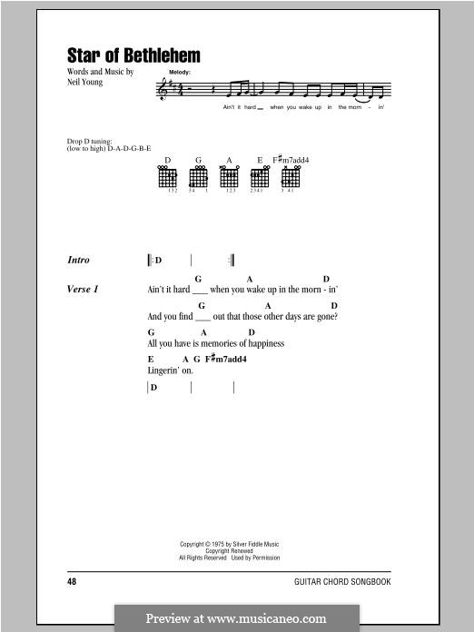 Star of Bethlehem: Lyrics and chords by Neil Young