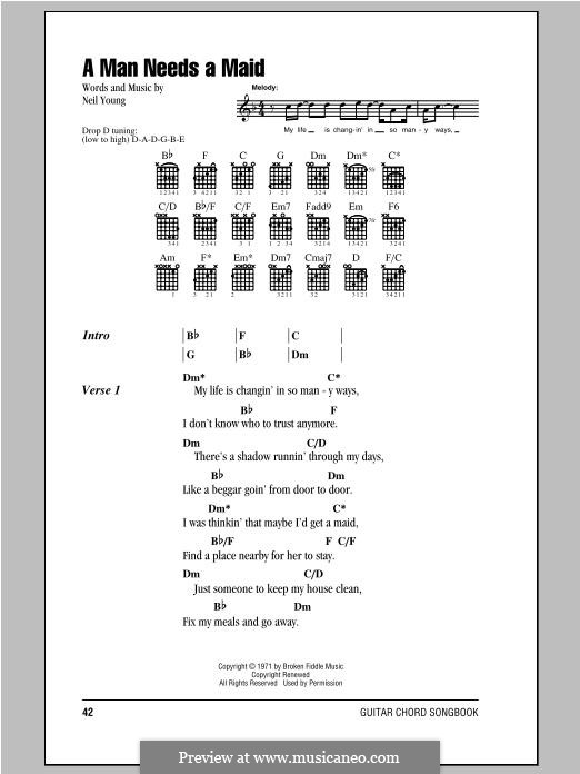 A Man Needs a Maid: Lyrics and chords by Neil Young