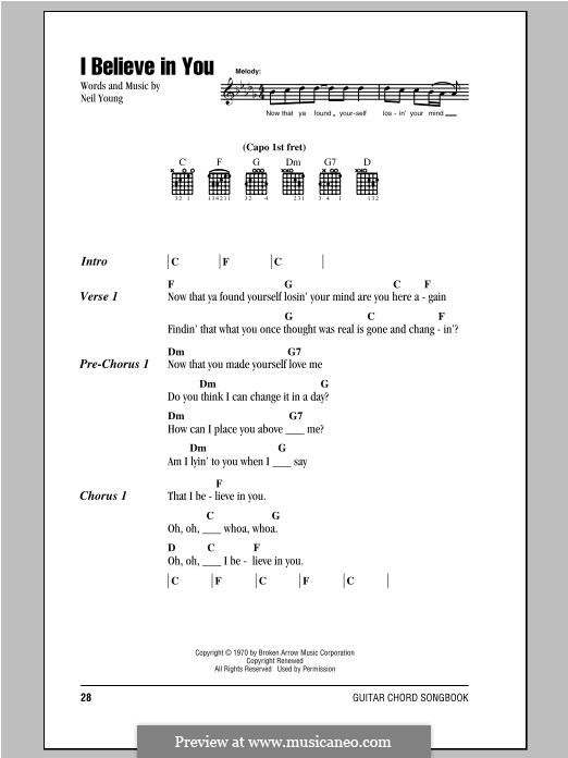 I Believe in You: Lyrics and chords by Neil Young