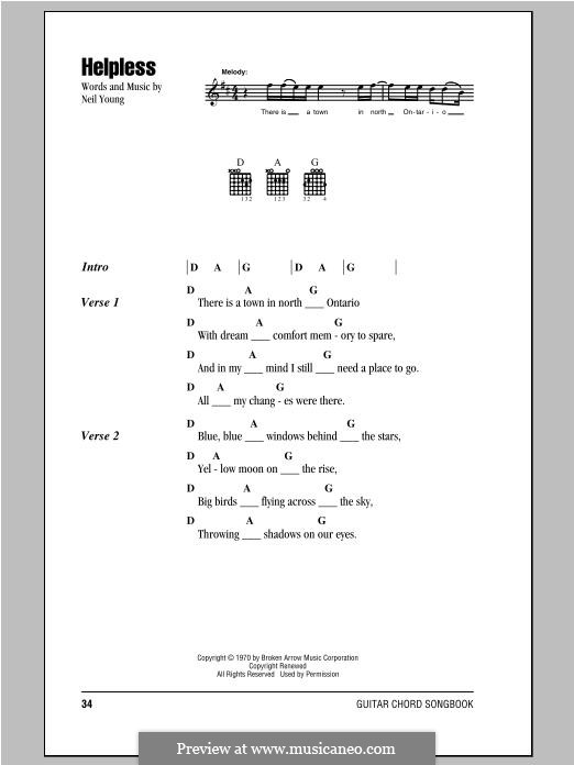 Helpless: Lyrics and chords by Neil Young