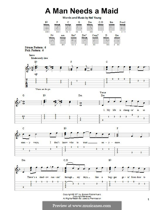 A Man Needs a Maid: For guitar with tab by Neil Young